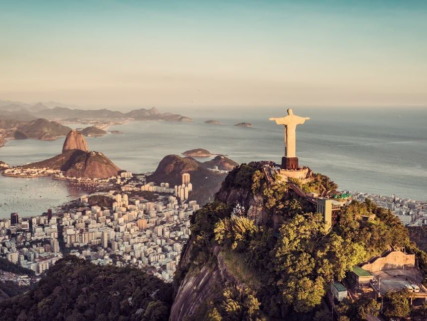Aerial panorama of Botafogo Bay and Sugar Loaf Mountain at sunset